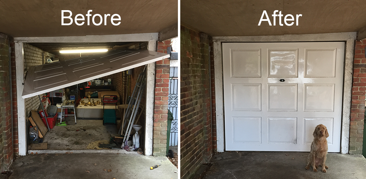 Before and after image of a Broken Garage Door. Replaced damaged cone and cables